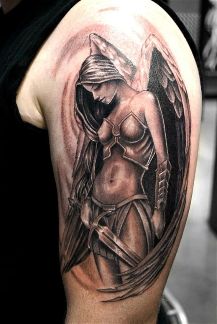 Fantasy style colored shoulder tattoo of seductive angel woman