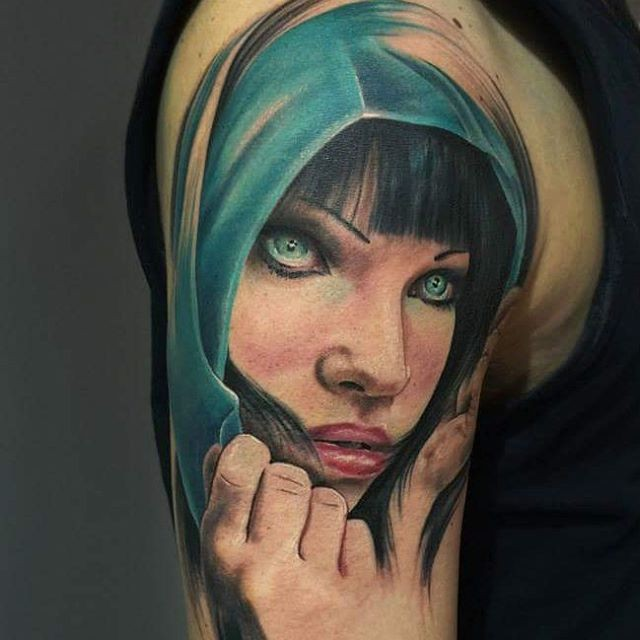 Fantasy style colored shoulder tattoo of woman with clock