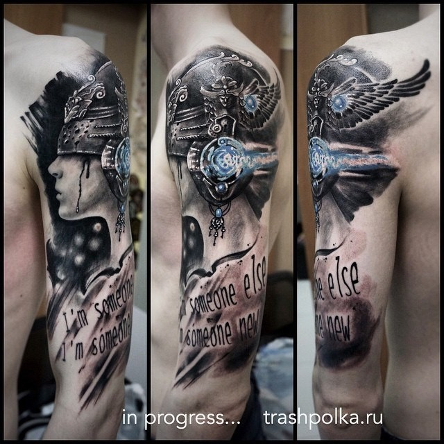 Fantasy style colored sleeve tattoo of amazing woman with lettering and cool helmet