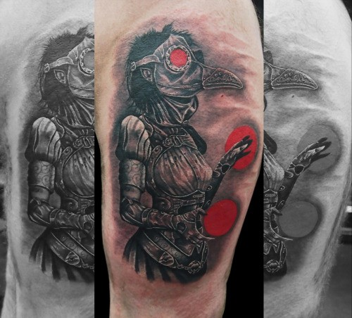 Fantasy style colored tattoo of woman plague doctor with red circles