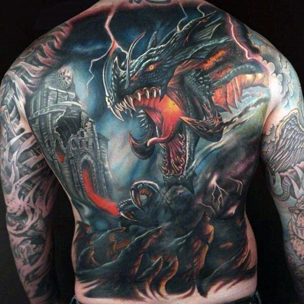 3ddf925d5 Fantasy style colored whole back tattoo of dragon and old castle ...