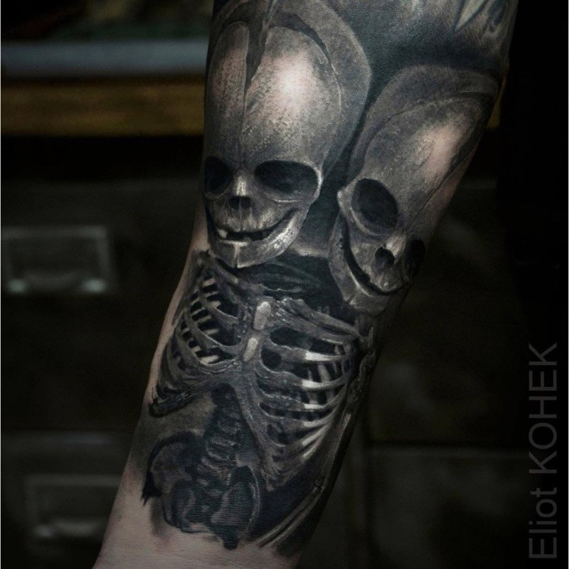 Fantasy style detailed creepy looking painted by Eliot Kohek tattoo of skeleton with two skulls