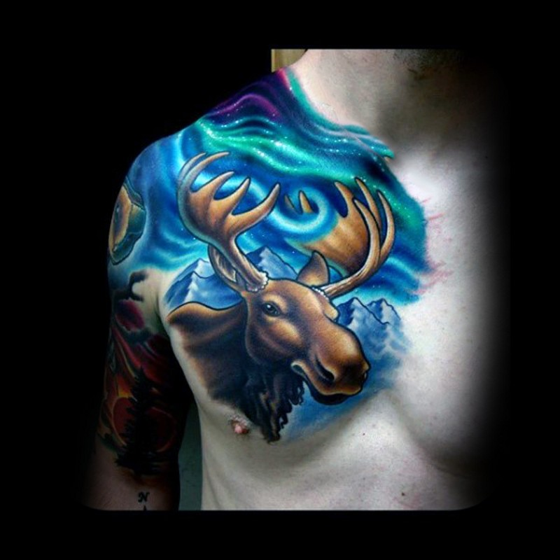 Fantasy style multicolored chest tattoo of funny elk and mountains