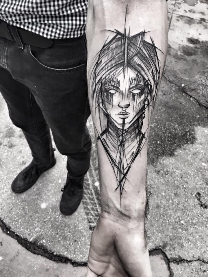 Fantasy style painted by Inez Janiak forearm tattoo of fantasy woman