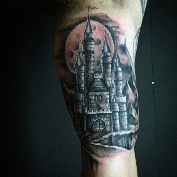 Fantasy world like colored big castle tattoo on arm