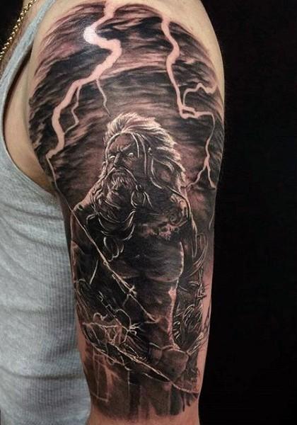 Fantasy world like mystical demonic warrior half sleeve tattoo