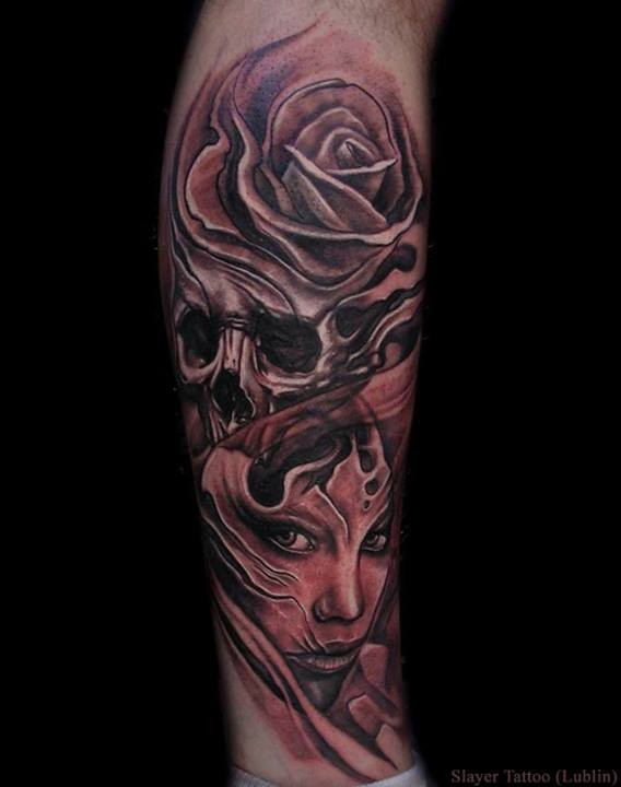 Fantasy world style black and white mystical witch with skull tattoo on leg