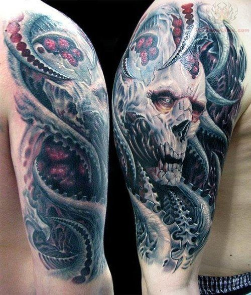 Fantasy world very detailed colored evil demon tattoo on shoulder