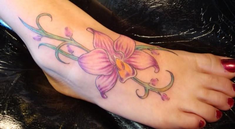 Flower women tattoo design idea for feet