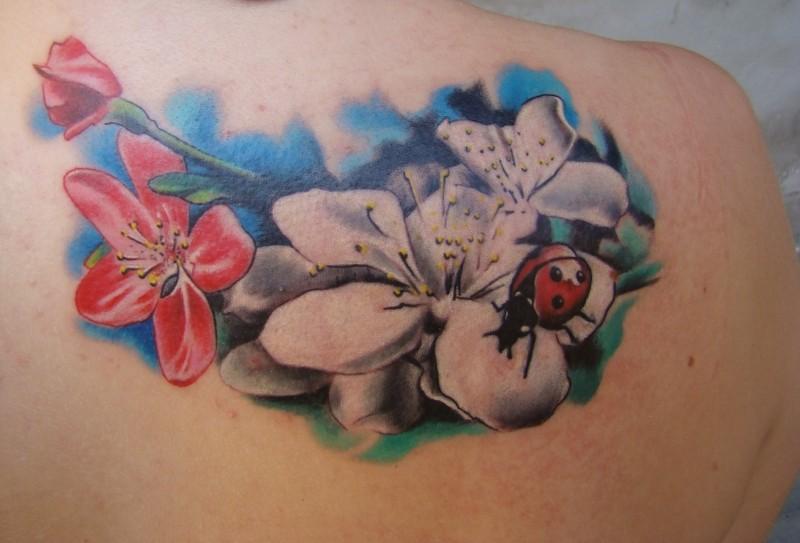 Tatuaggio sulla spalla i fiori di sakura & l&quotape