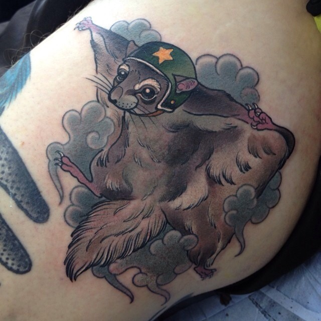 Flying in sky squirrel tattoo