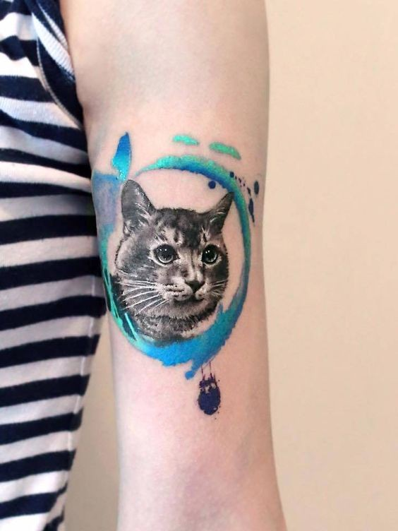 For girls style colored arm tattoo of cat portrait