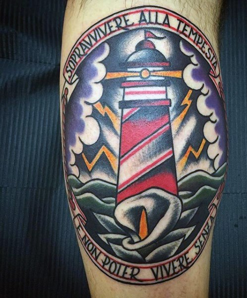 Framed memorial lighthouse during storm colored tattoo in old school style with calla and lettering