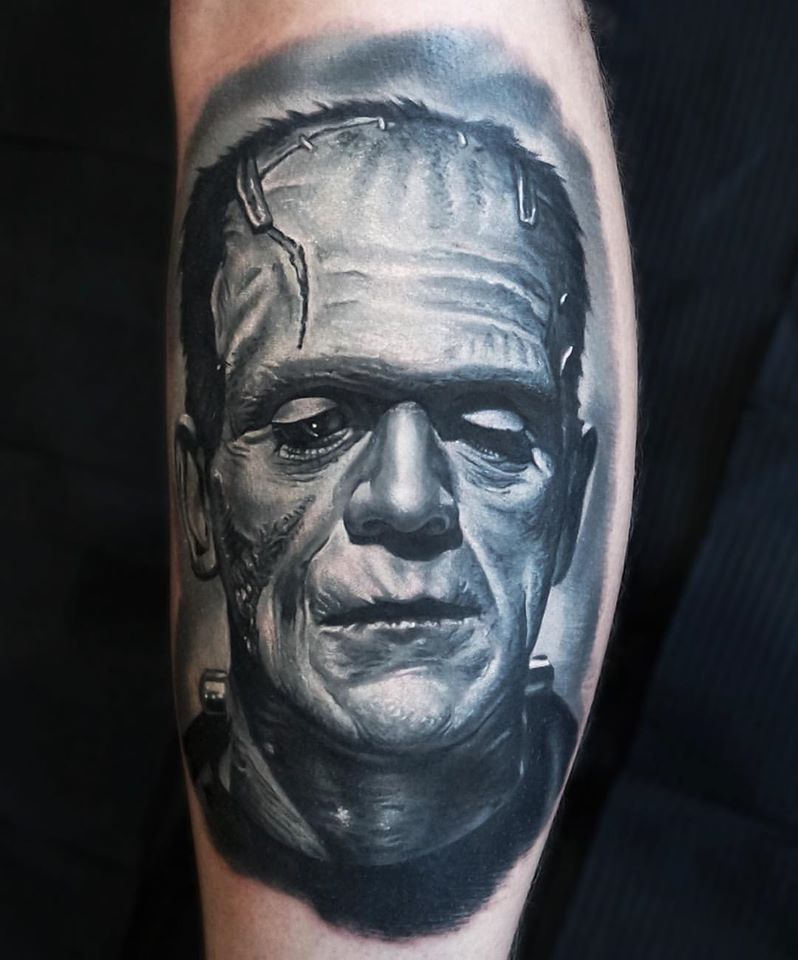Frankenstein Monster in gray colors tattoo