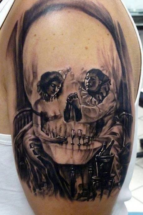 Skull illusion with ladies tattoo
