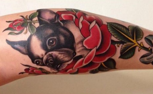 French bulldog in red flowers tattoo