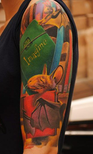 Funny 3D style cartoon colored half sleeve tattoo of magical book and animals