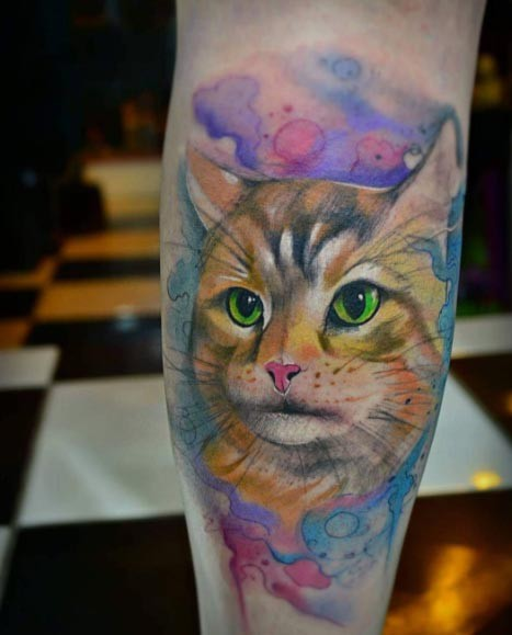 Funny 3D style colorful leg tattoo of cute cat face