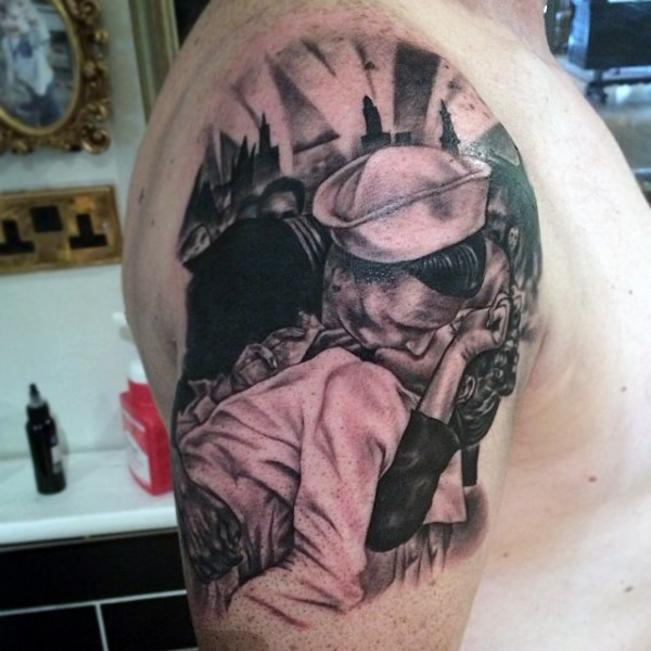 Funny and romantic detailed black and white kissing couple tattoo on upper arm
