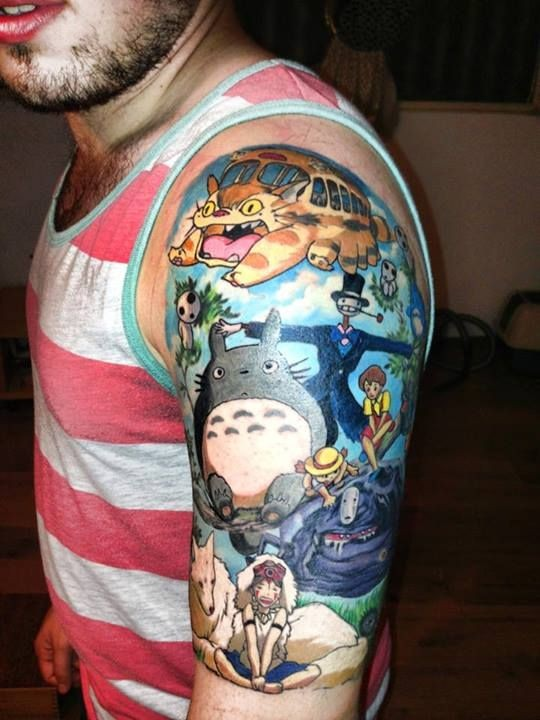 Funny Asian cartoon colored various heroes tattoo on shoulder