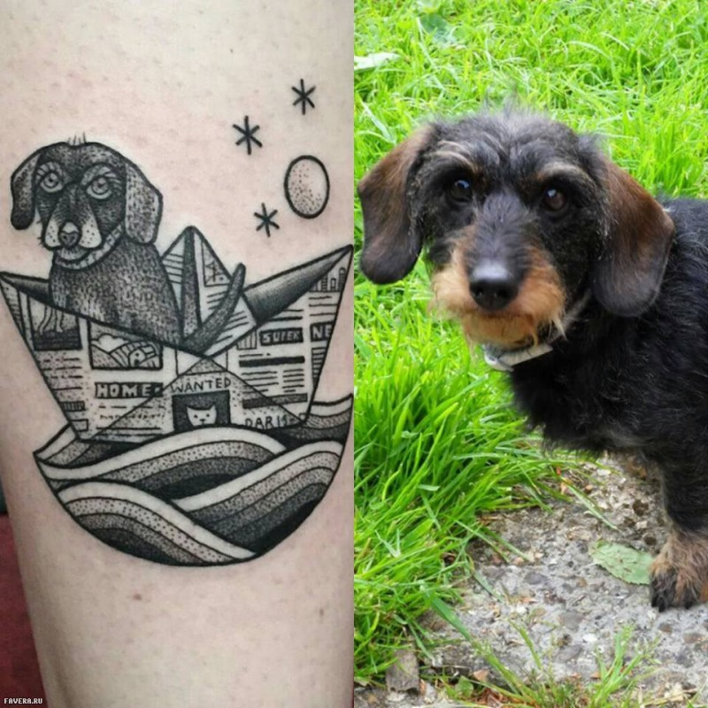 Funny black ink dog swimming in paper ship tattoo stylized with moon and stars