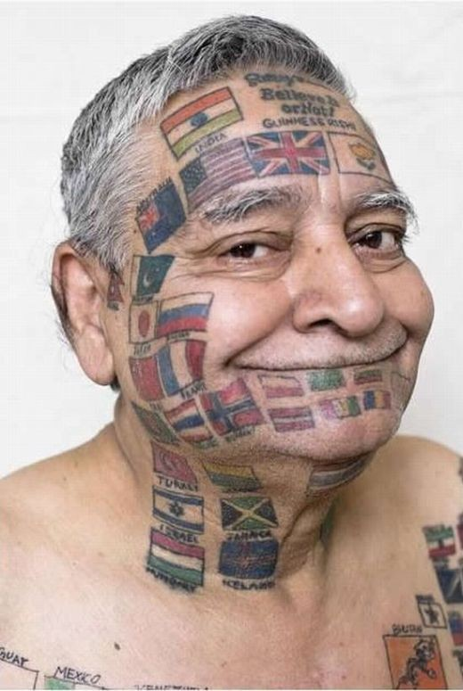 Funny but meaning full crazy face tattoo