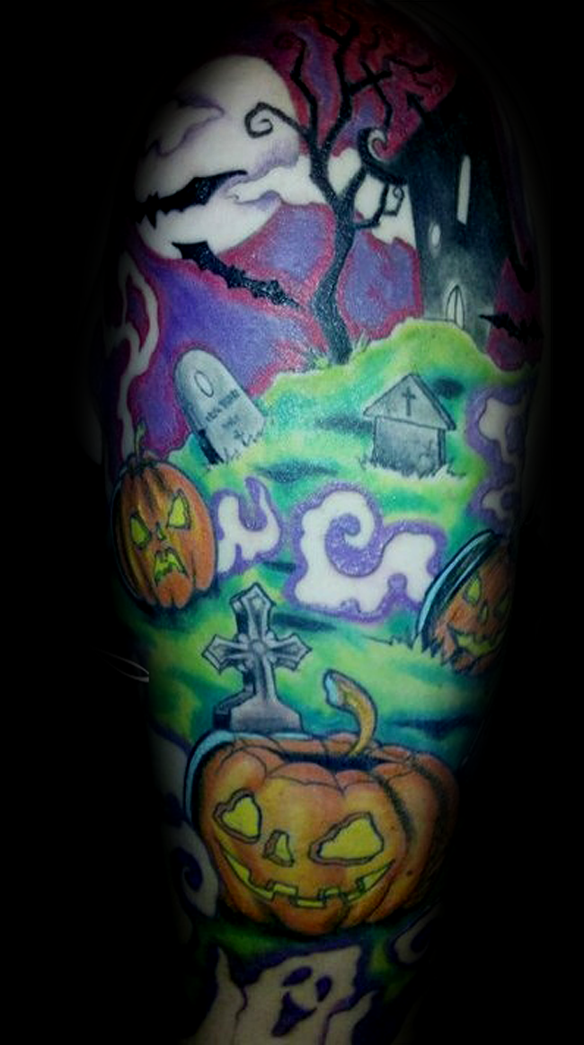 Funny cartoon like colored creepy cemetery tattoo stylized with monster pumpkins and bats