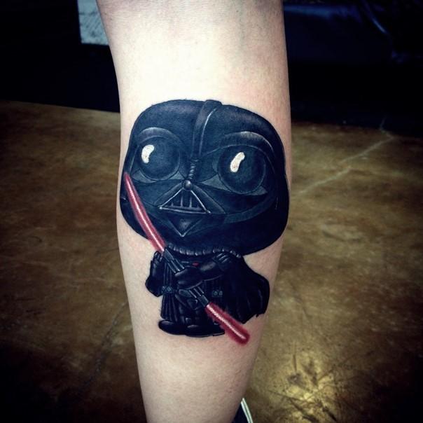 Funny cartoon like colorful leg tattoo of Darth Vader