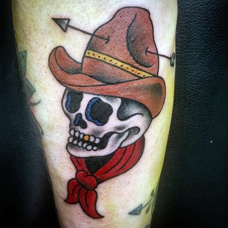 Skull With Cowboy Hat Tattoo Funny cartoon like cow...