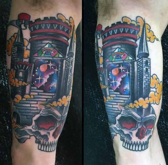 Funny cartoon like mystical space gates tattoo on arm
