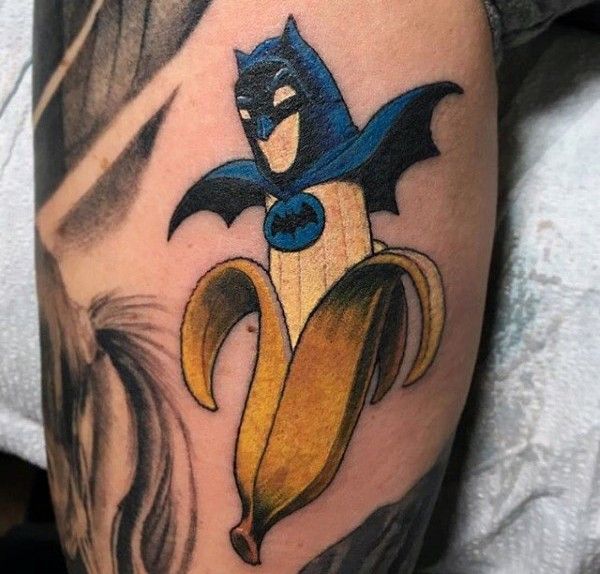Funny cartoon style colored banana with Batman