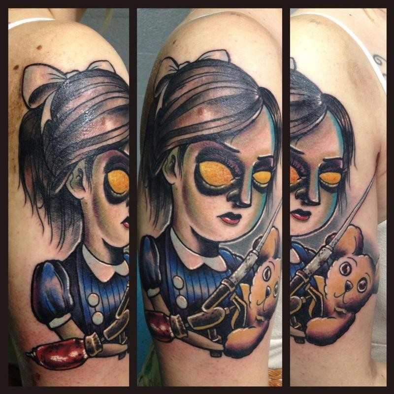 Funny cartoon style colored evil demonic girl tattoo on shoulder