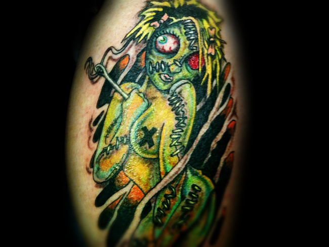 Funny cartoon style colored naked woman zombie tattoo
