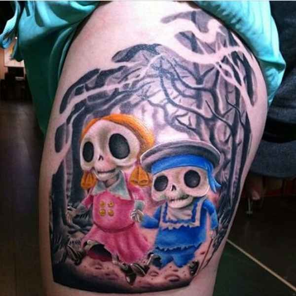 Funny cartoon style colored skeleton human in forest tattoo on thigh