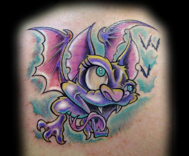 Funny cartoon style colored vampire bat tattoo