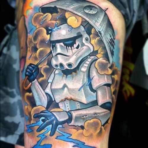 Funny designed and colored arm tattoo of storm trooper with Death Star shaped umbrella