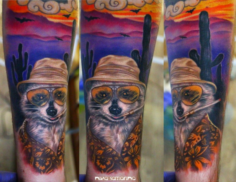 Funny designed and colored arm tattoo of smoking raccoon