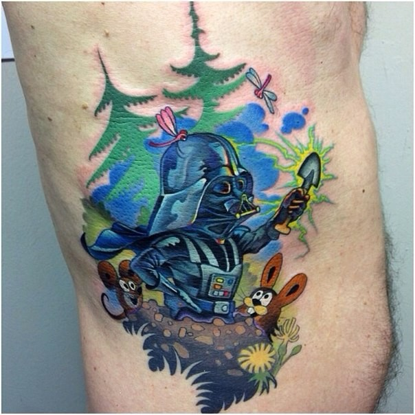 Funny designed colored cartoon style side tattoo of Darth Vader with animals in forest