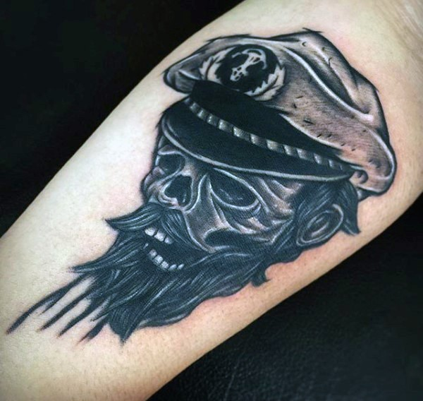 Funny designed colored old sailor skull tattoo on arm
