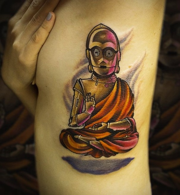 Funny Hinduism style C3PO shaped Buddha tattoo on side