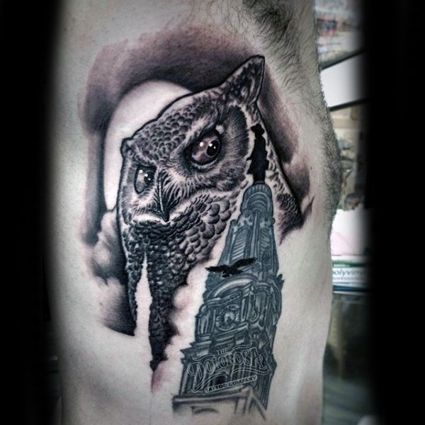 Funny illustrative style black ink owl tattoo on side combined with dark temple