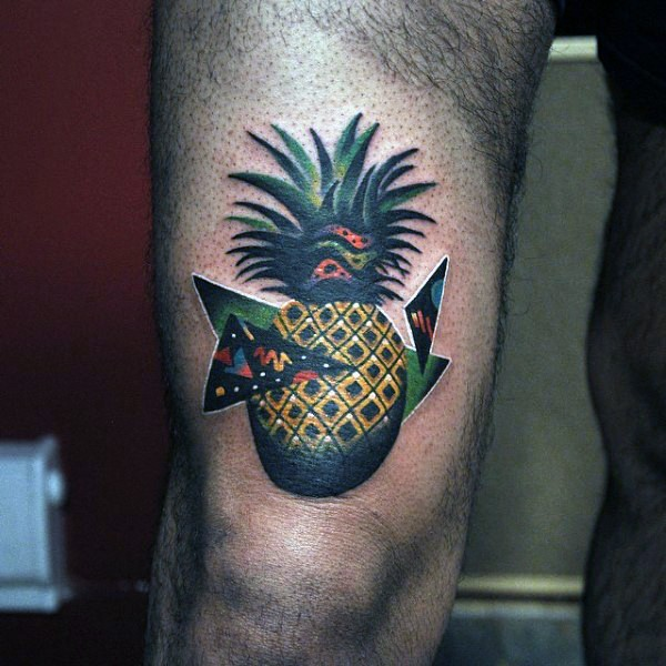 Funny illustrative style thigh tattoo of pineapple with triangles