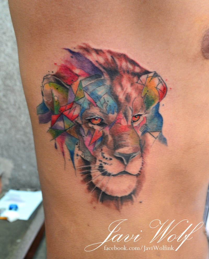Funny looking abstract style colored side tattoo of lion head