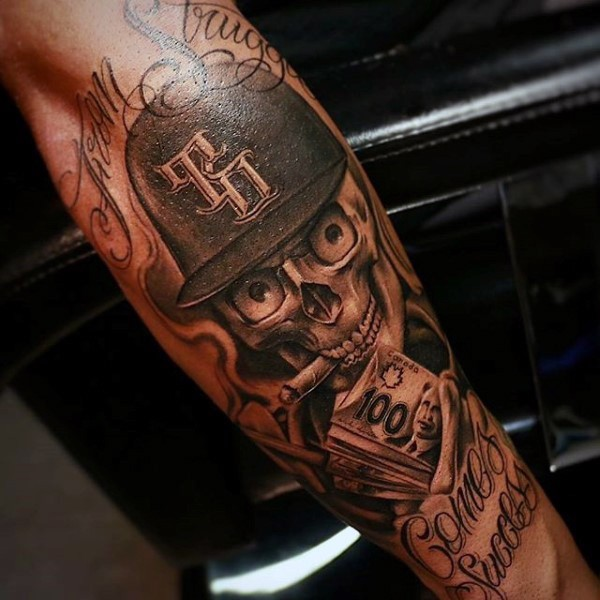 Funny looking black and white alive smoking skeleton with money tattoo on forearm with lettering