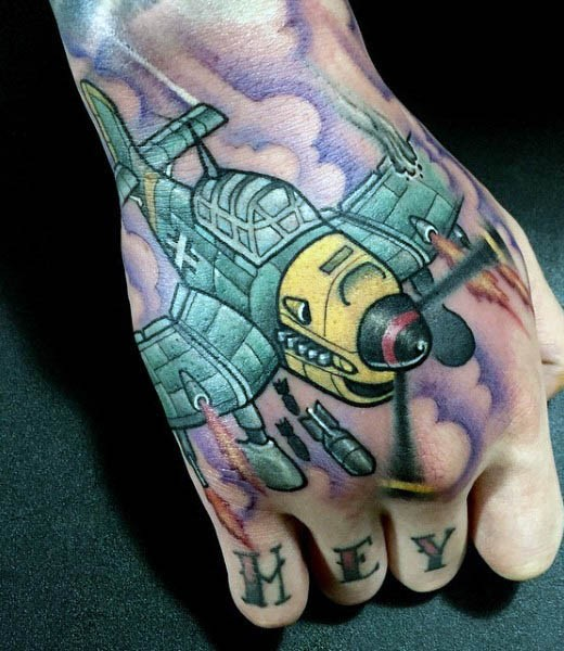 Funny looking colored hand tattoo of WW2 plane