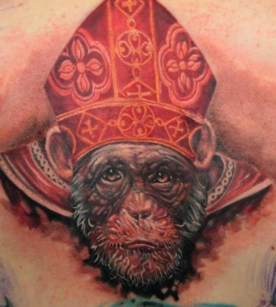 Funny looking colored tattoo of monkey pope