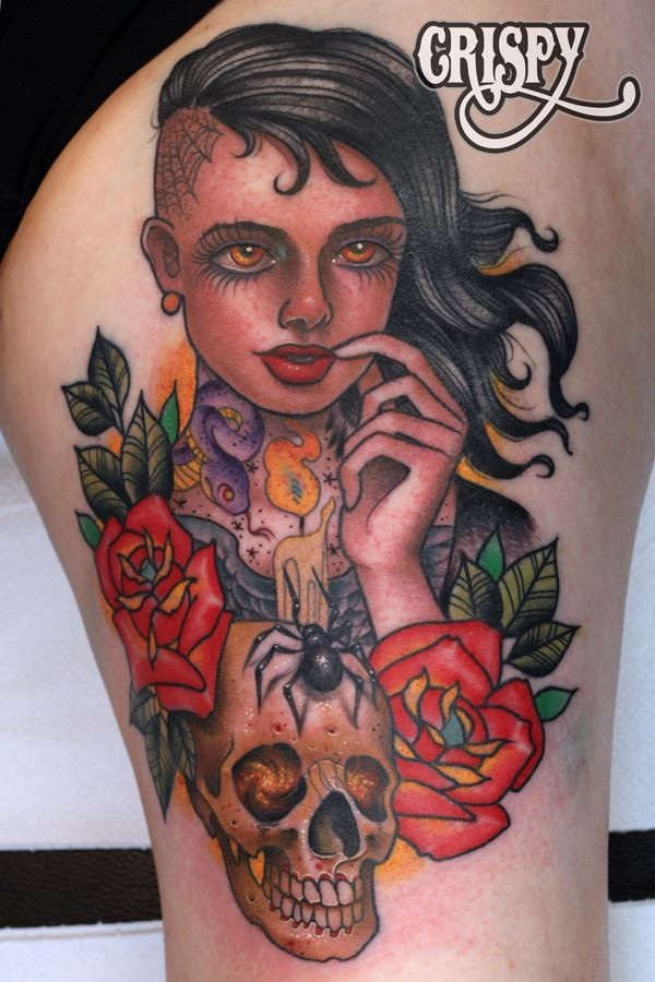 Funny looking colored thigh tattoo of interesting woman portrait, human skull and flowers
