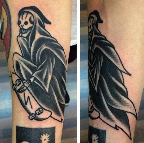 Funny looking old school black ink forearm tattoo of Death skater
