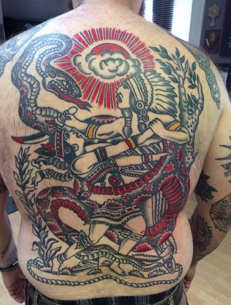 Funny old school style colored fighting Indians with snake tattoo on whole back area