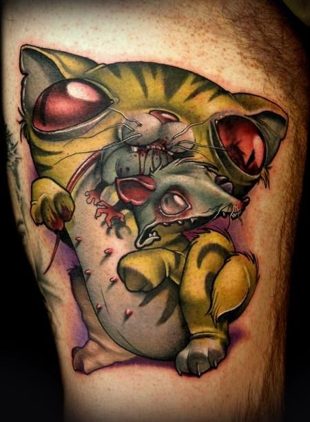Funny painted big 3D colored monster cat with mouse tattoo on thigh